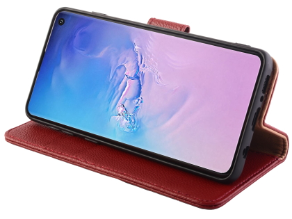 Premium Leather Wallet Case for Samsung Galaxy S10+ - Burgundy