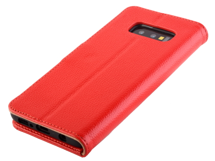 Premium Leather Wallet Case for Samsung Galaxy S10e - Red Leather Wallet Case