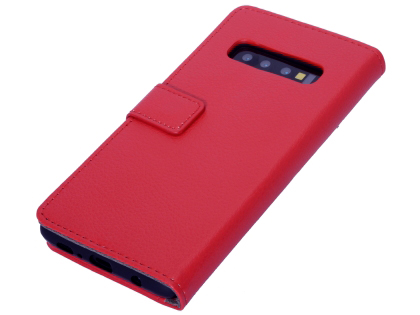Synthetic Leather Wallet Case with Stand for Samsung Galaxy S10+ - Red Leather Wallet Case