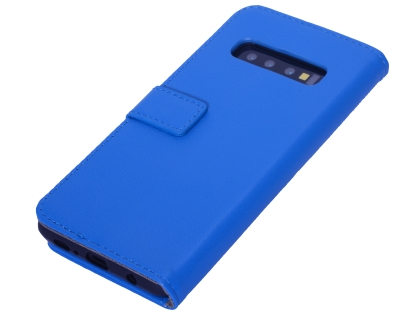 Synthetic Leather Wallet Case with Stand for Samsung Galaxy S10+ - Blue Leather Wallet Case