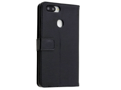 Synthetic Leather Wallet Case with Stand for OPPO AX5s - Black Leather Wallet Case
