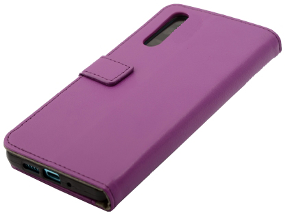 Synthetic Leather Wallet Case with Stand for Huawei P30 - Purple Leather Wallet Case