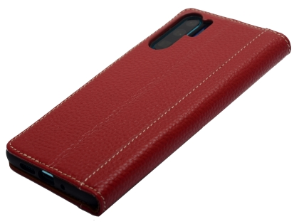 Premium Leather Case for Huawei P30 Pro - Burgundy Leather Wallet Case