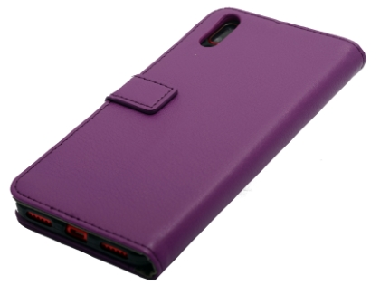 Slim Synthetic Leather Wallet Case with Stand for Huawei Y7 Pro (2019) - Purple Leather Wallet Case
