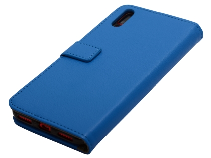 Slim Synthetic Leather Wallet Case with Stand for Huawei Y7 Pro (2019) - Blue Leather Wallet Case