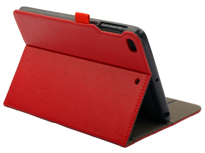 Synthetic Leather Case with Stand for iPad Mini (2019) - Red Leather Flip Case
