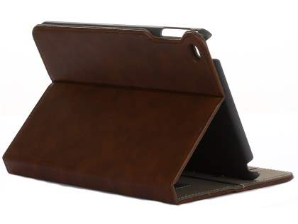 Synthetic Leather Case with Stand for iPad Mini (2019) - Brown Leather Flip Case