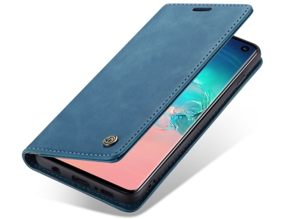 CaseMe Slim Synthetic Leather Wallet Case with Stand for Samsung Galaxy S10 - Teal Leather Wallet Case