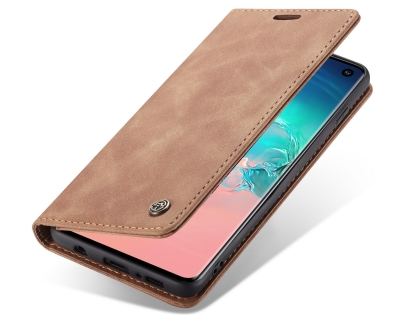 CaseMe Slim Synthetic Leather Wallet Case with Stand for Samsung Galaxy S10 - Tan