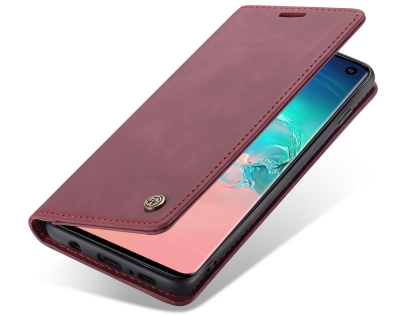 CaseMe Slim Synthetic Leather Wallet Case with Stand for Samsung Galaxy S10 - Burgundy Leather Wallet Case