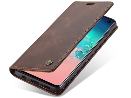 CaseMe Slim Synthetic Leather Wallet Case with Stand for Samsung Galaxy S10 - Chocolate Leather Wallet Case