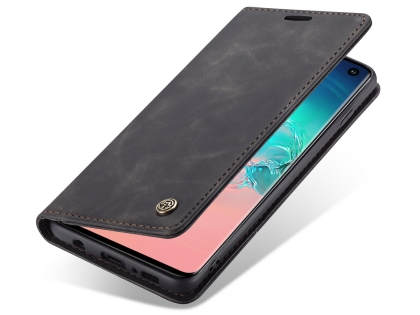 CaseMe Slim Synthetic Leather Wallet Case with Stand for Samsung Galaxy S10 - Charcoal Leather Wallet Case