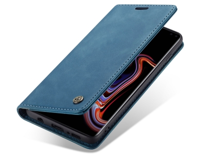 CaseMe Slim Synthetic Leather Wallet Case with Stand for Samsung Galaxy S10+ - Teal Leather Wallet Case