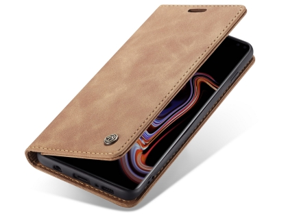 CaseMe Slim Synthetic Leather Wallet Case with Stand for Samsung Galaxy S10+ - Beige Leather Wallet Case