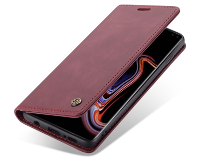 CaseMe Slim Synthetic Leather Wallet Case with Stand for Samsung Galaxy S10+ - Burgundy Leather Wallet Case