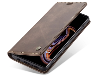 CaseMe Slim Synthetic Leather Wallet Case with Stand for Samsung Galaxy S10+ - Chocolate Leather Wallet Case