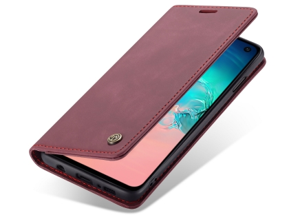 CaseMe Slim Synthetic Leather Wallet Case with Stand for Samsung Galaxy S10e - Burgundy