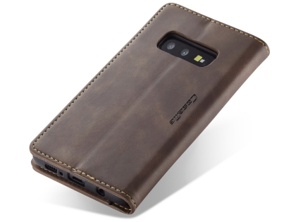 CaseMe Slim Synthetic Leather Wallet Case with Stand for Samsung Galaxy S10e - Chocolate