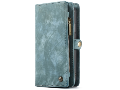 CaseMe 2-in-1 Synthetic Leather Wallet Case for iPhone XR - Teal Leather Wallet Case