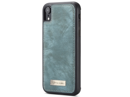 CaseMe 2-in-1 Synthetic Leather Wallet Case for iPhone XR - Teal/Ash