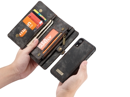 CaseMe 2-in-1 Synthetic Leather Wallet Case for iPhone XR - Charcoal