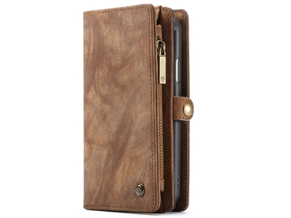 CaseMe 2-in-1 Synthetic Leather Wallet Case for iPhone XR - Brown