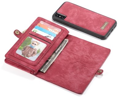 CaseMe 2-in-1 Synthetic Leather Wallet Case for iPhone XS Max - Rose