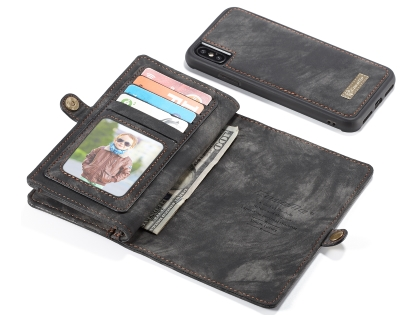 CaseMe 2-in-1 Synthetic Leather Wallet Case for iPhone XS Max - Charcoal