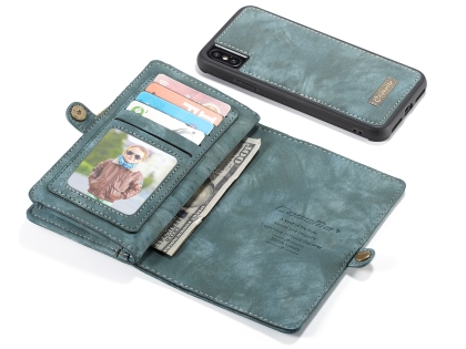 CaseMe 2-in-1 Synthetic Leather Wallet Case for iPhone XS Max - Teal