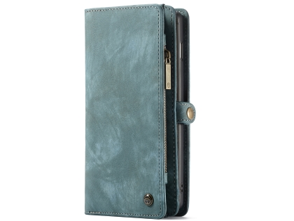 CaseMe 2-in-1 Synthetic Leather Wallet Case for Samsung Galaxy S10 - Teal/Ash Leather Wallet Case