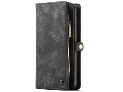 CaseMe 2-in-1 Synthetic Leather Wallet Case for Samsung Galaxy S10+ - Charcoal Leather Wallet Case