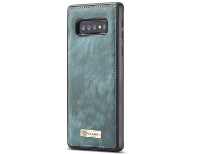 CaseMe 2-in-1 Synthetic Leather Wallet Case for Samsung Galaxy S10 - Teal/Ash