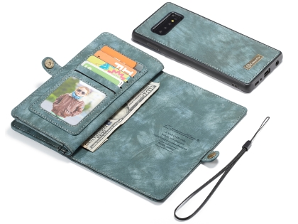 CaseMe 2-in-1 Synthetic Leather Wallet Case for Samsung Galaxy S10+ - Teal/Ash