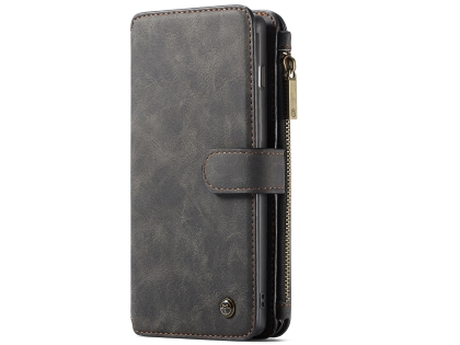 CaseMe 2-in-1 Synthetic Leather Wallet Case for Samsung Galaxy S10 - Charcoal Leather Wallet Case