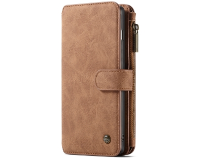CaseMe 2-in-1 Synthetic Leather Wallet Case for Samsung Galaxy S10 - Beige Leather Wallet Case