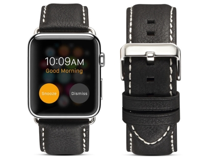 Premium Leather Band for 42/44 mm Apple Watch  - Black Watch Band