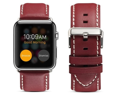 Premium Leather Band for 42/44 mm Apple Watch  - Rosewood Watch Band