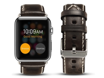 Premium Rustic Inspired Leather Band for 38/40 mm Apple Watch  - Charcoal Watch Band