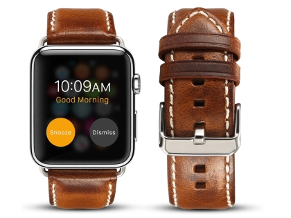 Premium Rustic Inspired Leather Band for 38/40 mm Apple Watch  - Burnt Orange Watch Band