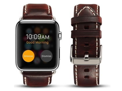 Premium Rustic Inspired Leather Band for 42/44 mm Apple Watch  - Maroon Watch Band