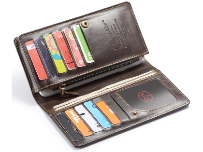 CaseMe Slim Wallet With Mobile Pouch - Brown