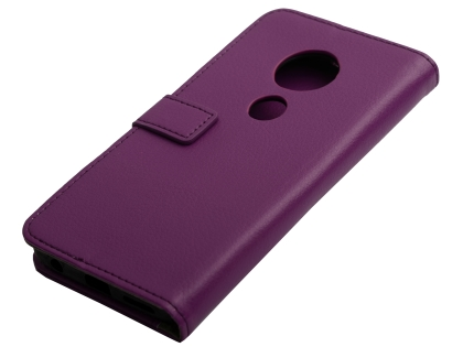 Synthetic Leather Wallet Case with Stand for Motorola Moto G7 - Purple Leather Wallet Case