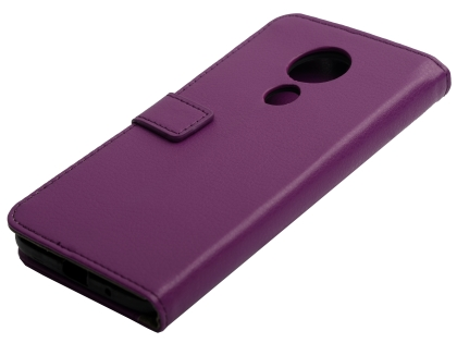 Synthetic Leather Wallet Case with Stand for Motorola Moto G7 Power - Purple Leather Wallet Case