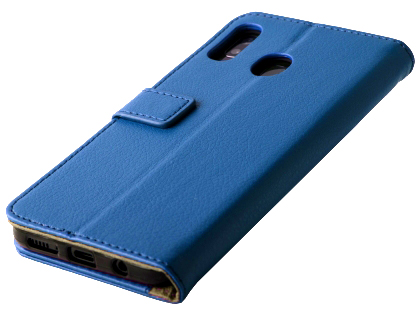 Synthetic Leather Wallet Case with Stand for Samsung Galaxy A20 - Blue Leather Wallet Case