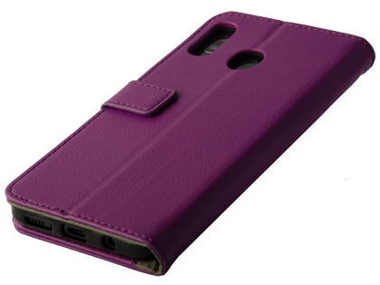 Synthetic Leather Wallet Case with Stand for Samsung Galaxy A20 - Purple Leather Wallet Case