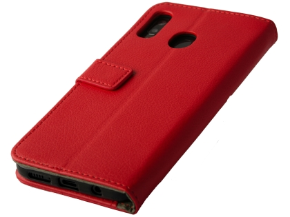 Synthetic Leather Wallet Case with Stand for Samsung Galaxy A20 - Red Leather Wallet Case