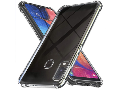 Gel Case with Bumper Edges for Samsung Galaxy A20 - Clear Soft Cover