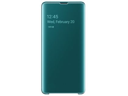 Genuine Samsung Galaxy S10+ Clear View Cover - Green S View Cover