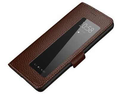 Top Grain Leather Case With Window for Huawei P30 Pro - Brown Leather Case
