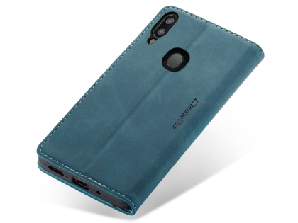 CaseMe Slim Synthetic Leather Wallet Case with Stand for Samsung Galaxy A20 - Teal Leather Wallet Case